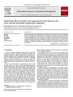 اثرات تعدیل کننده جنسیت و سطح سازمانی بین استرس نقش و رضایت شغلی کارمندان هتل